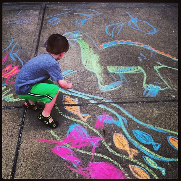 Celebrating Our Return Home with Sidewalk Chalk