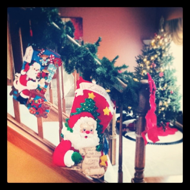 """Max calls his """"the baby"""" stocking."""