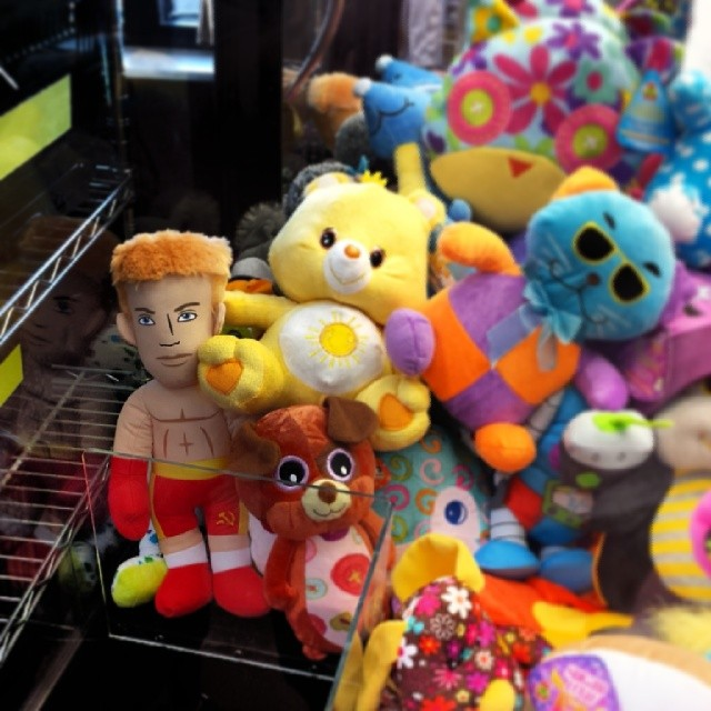 Not sure what Ivan Drago is doing in the Claw-Toy-Grabber machine.