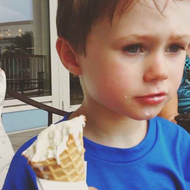 Eating ice cream on a hot day in Orlando.