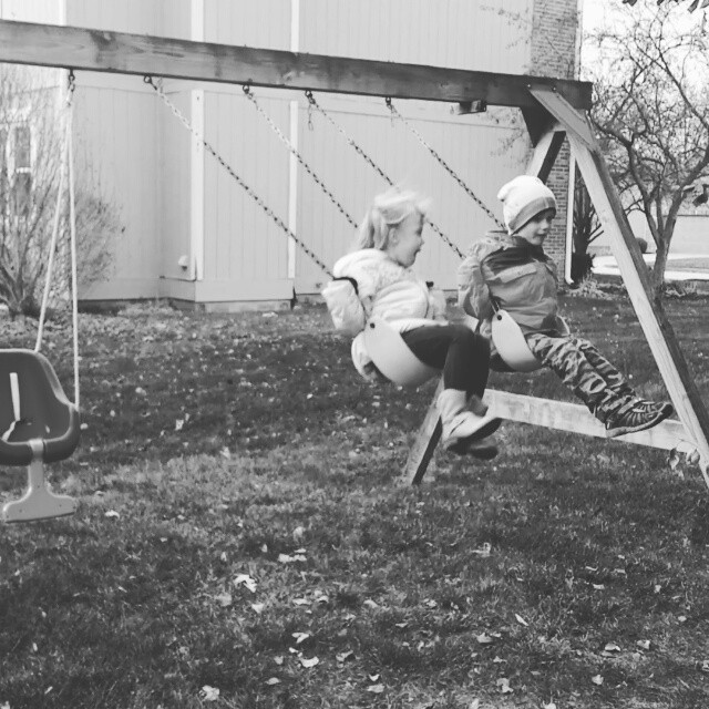 Swinging on a chilly day