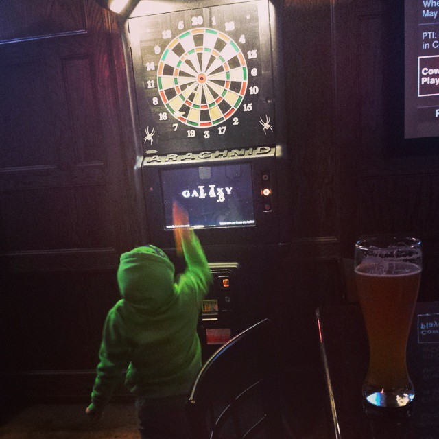 Mom's out of town, so Max & Dad head to the pub for some darts.