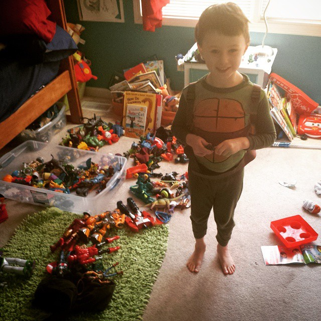 Max, the TMNT, entertains himself today at home.
