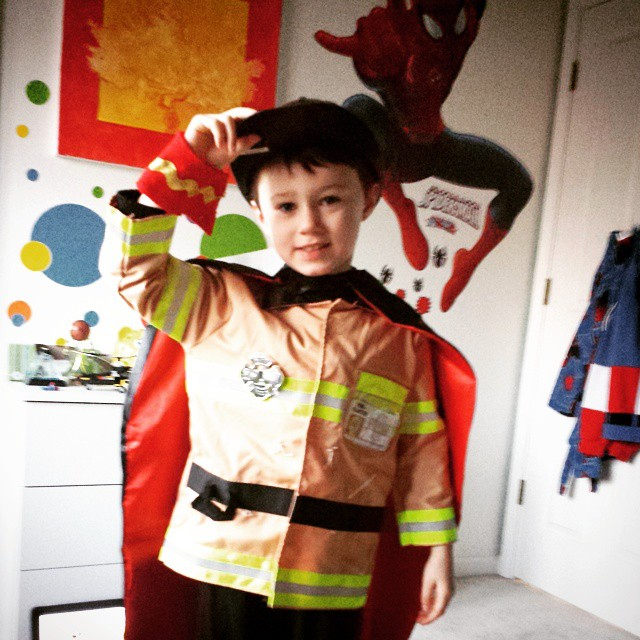 """This morning, Max is a """"Super Hero Fire Fighter."""""""