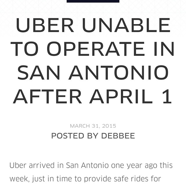 In case anyone following supports unions, rogue governments or other cartels: Uber shut down in San Antonio. Well played lobbyists and taxi cab scoflaws!