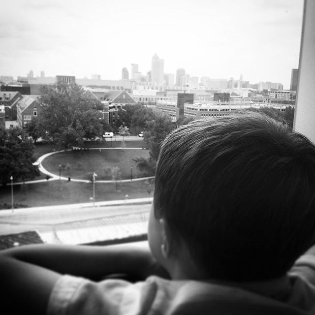Looking out at the city.