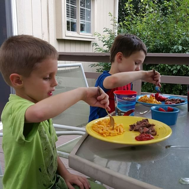 Dinner before Max's first sleepover.