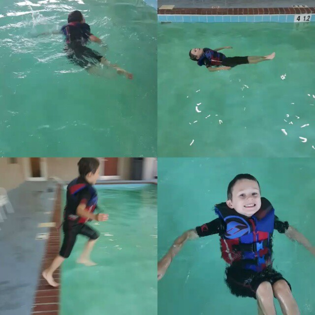 Swimming before we go to Granny's