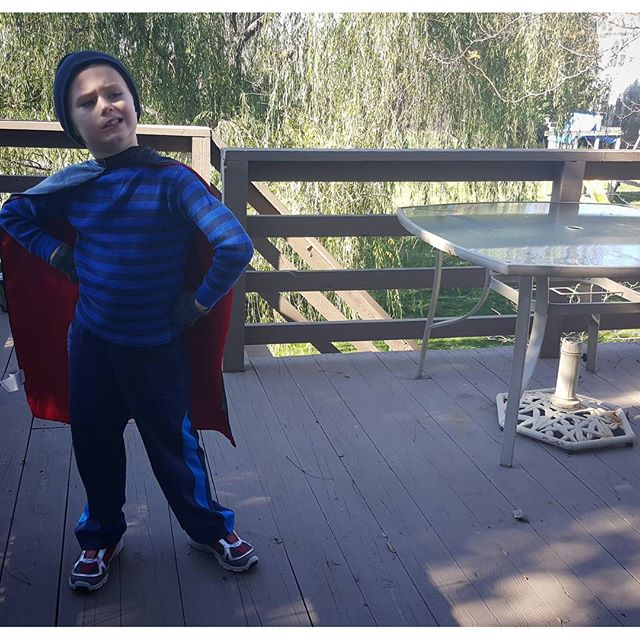 This superhero is ready to play outside...