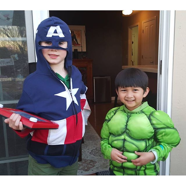 Captain America & Hulk are ready to save the day. (With their etch-a-sketch map)