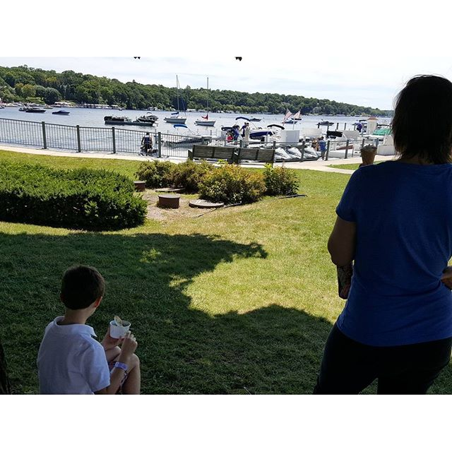 """While eating ice cream, a curious Max looks out at the Wave Runners heading out to the lake and says to his dad, """"Can we do that?"""""""