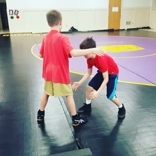 Max works on his wresting moves. (Paired up with a 5th-grader today.) Go SLDM Cardinals!