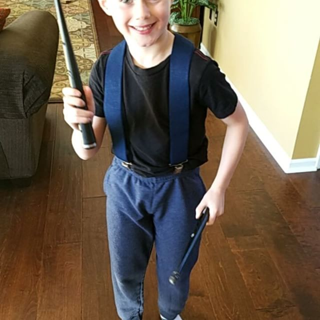 Max requested suspenders today, which apparently turned him into a crazy evil drummer.