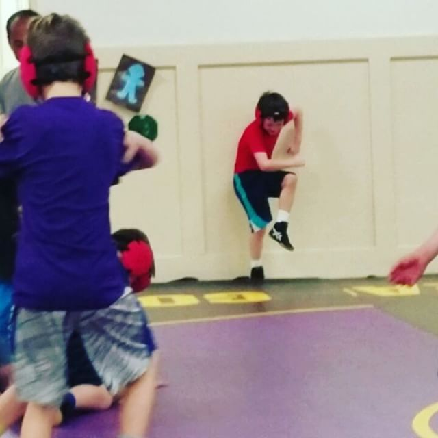 Not too hard to spot Max @ wrestling practice.  #musicmindcontrol