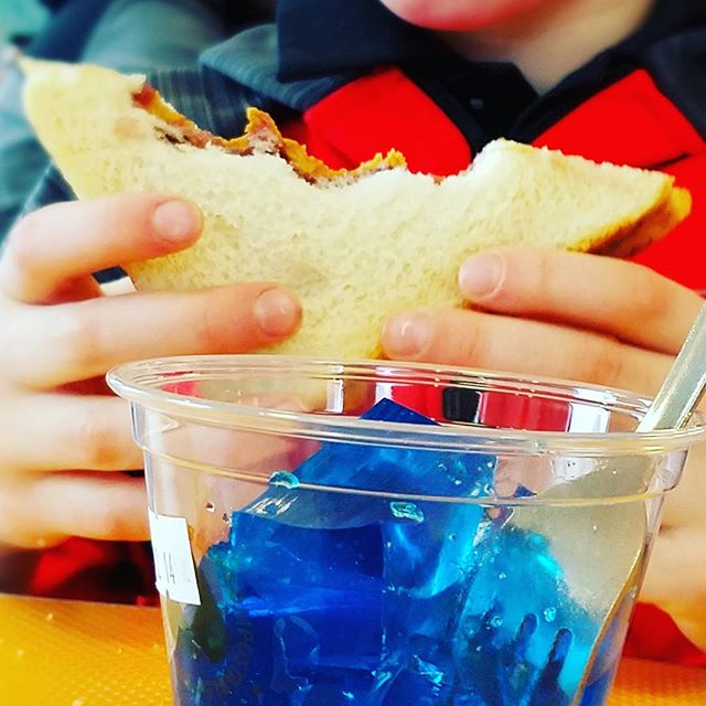 Blue Raspberry Jello and PB & J is the most awesomest lunch a 6 year old can have.