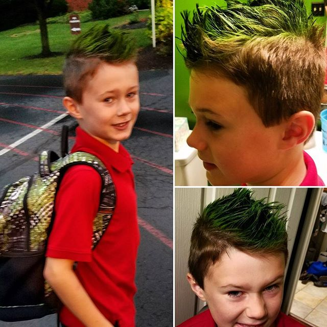 Green spikes for 'Crazy Hair day' at SLDM