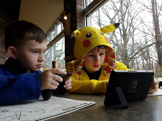 Video games with friends make lunch a lot of fun!