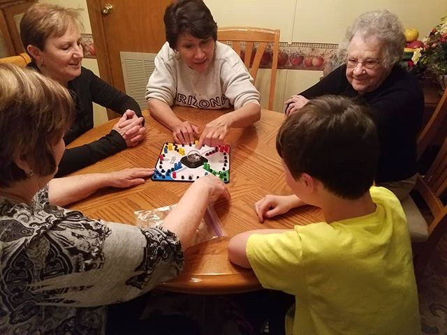 Max convinced his Virginia family to play Trouble with him. Double Trouble for sure!