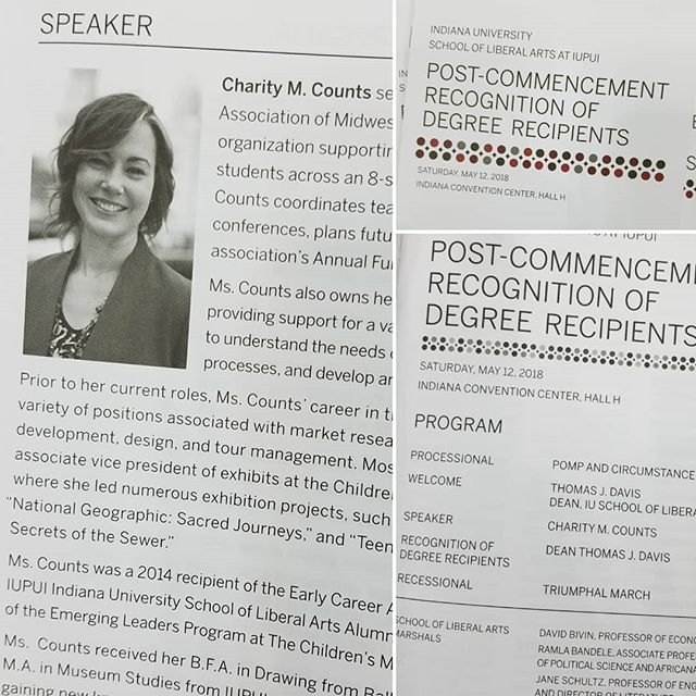 Very cool that my wife is the commencement speaker at IUPUI School of Liberal Arts this year. Way to go @charity_counts!