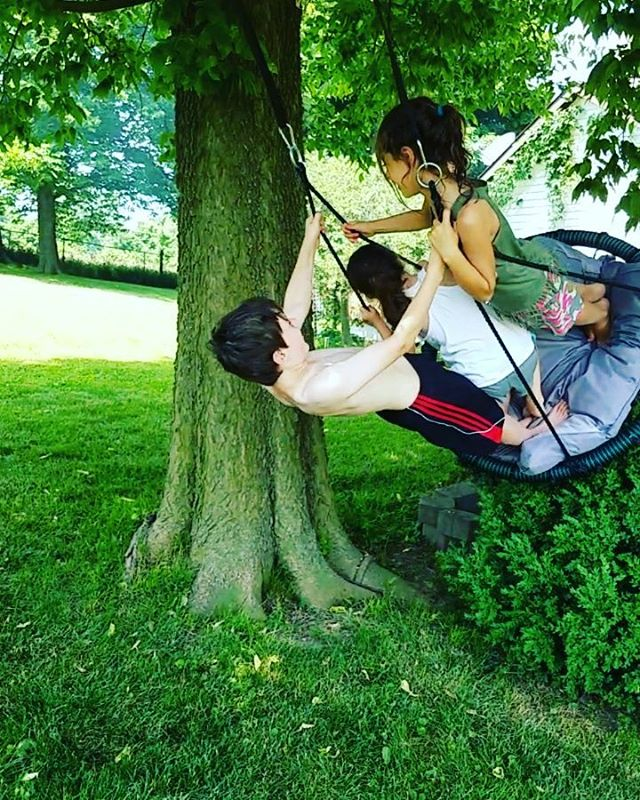 Cousins swinging...