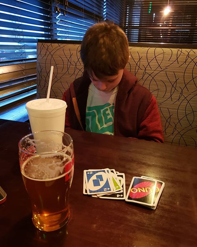 Drinks and cards with my boy is always fun...