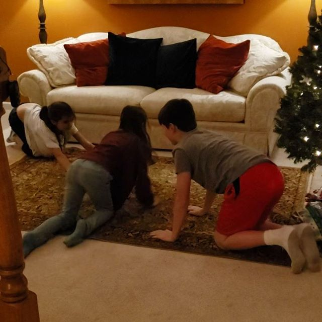 These three cousins invented a new game to play called 'Rug'